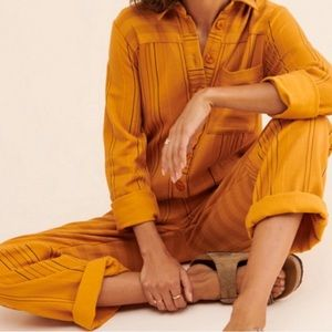 Urban Outfitters Mustard Stripped Jumpsuit By Kimchi Blue Size M NWT